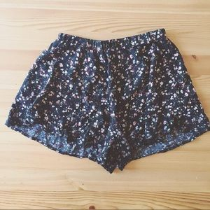 Pants - Black and Peach Floral Shorts